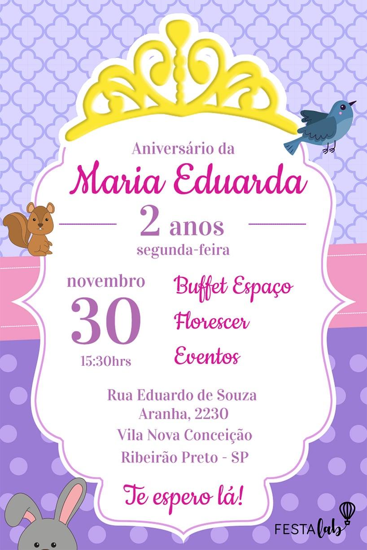 Criar convite de aniversário - Princesa Sofia| Festalab