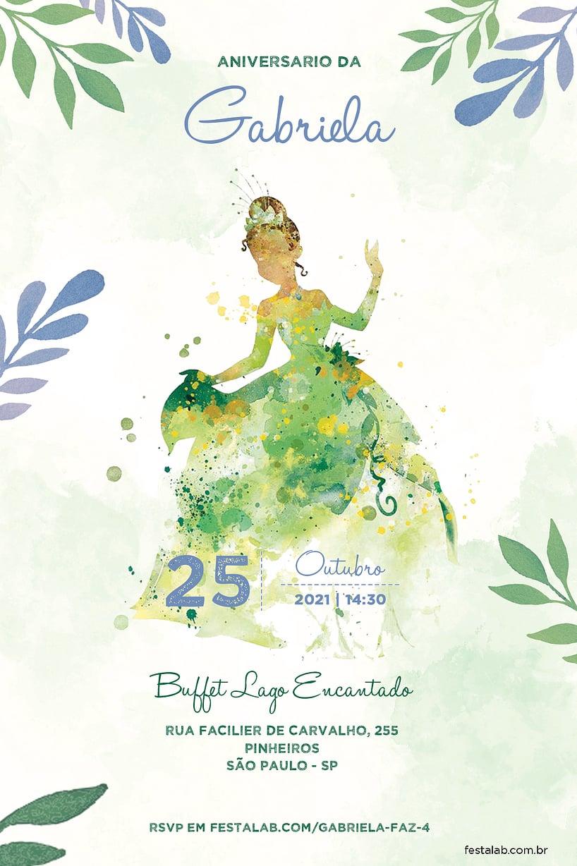 Convite de Aniversario - Princesa Tiana