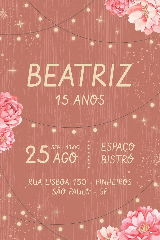 Convite de Aniversario - Debutante - Rustico