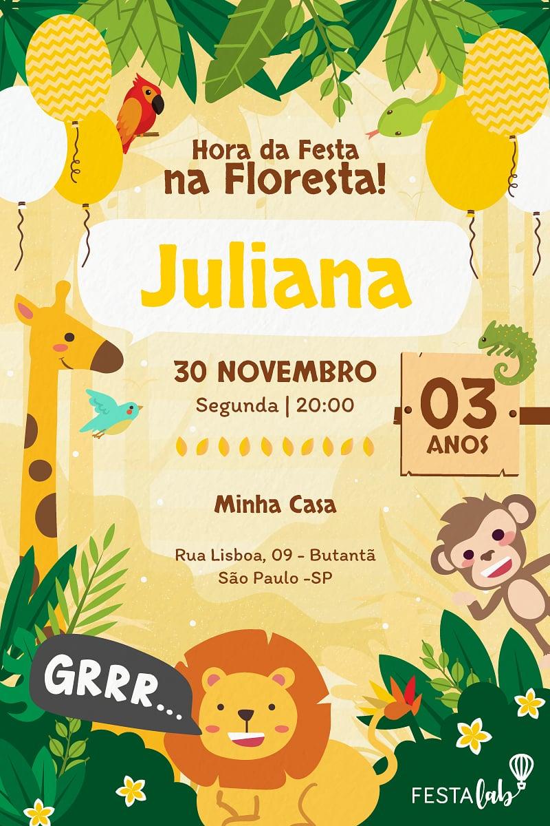 Convite de Aniversario - Safari