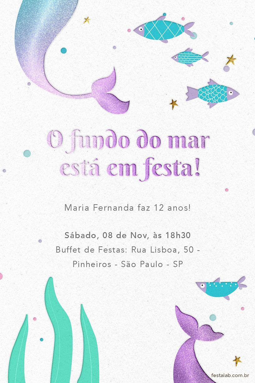 Convite de Aniversario - Sereia no Mar