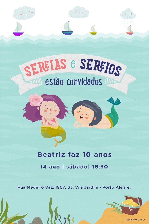 Convite de Aniversario - Sereias e Sereios