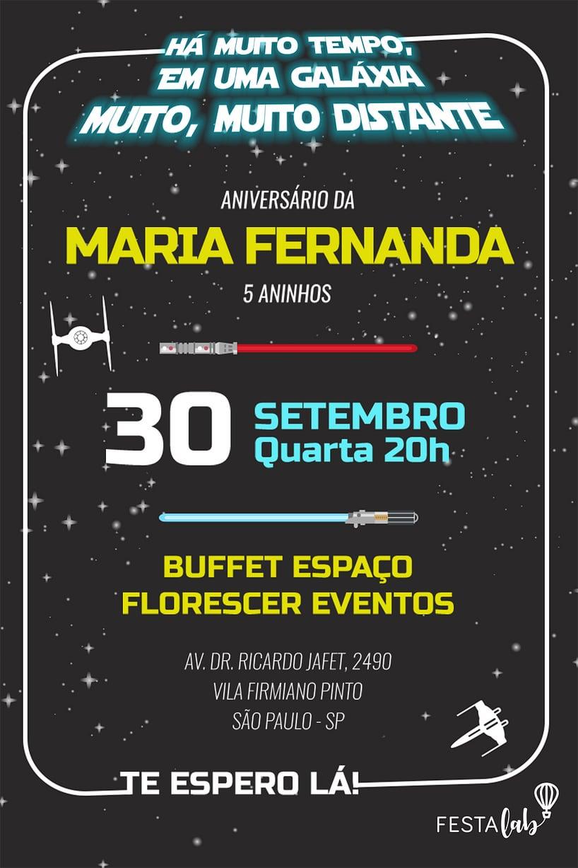 Convite de aniversario - Star Wars
