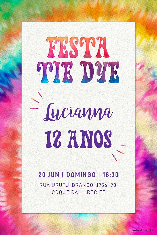 Convite de Aniversario - Tie Dye