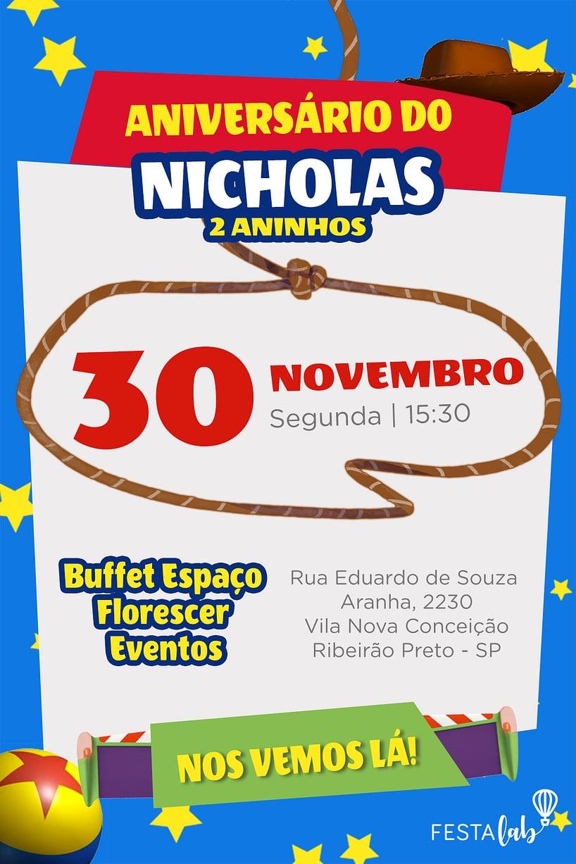 Convite de Aniversario - Toy Story