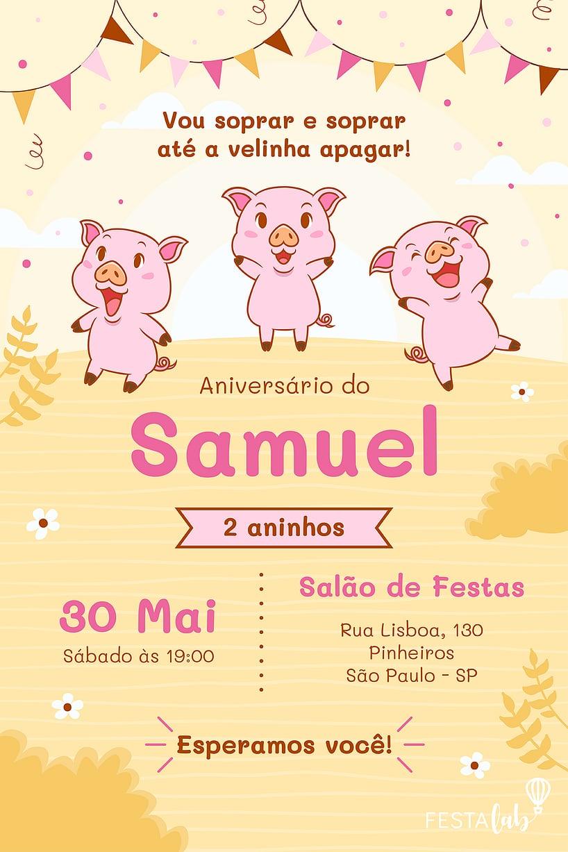 Convite de Aniversario - Tres Porquinhos