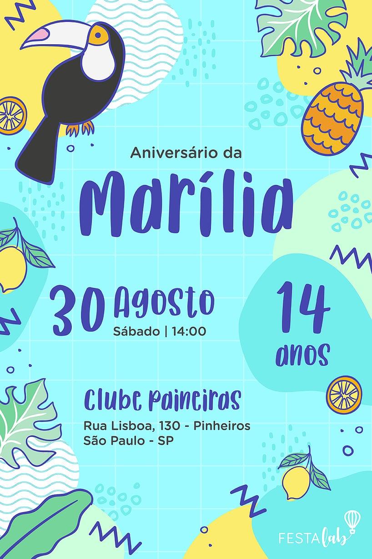 Convite de Aniversario - Tucano Tropical