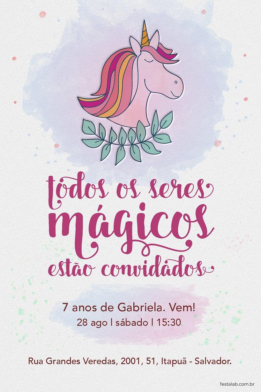 Convite de Aniversario - Unicornio Aquarela