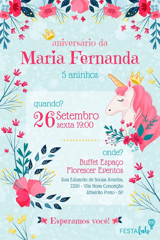 Convite de Aniversario - Unicornio Florido