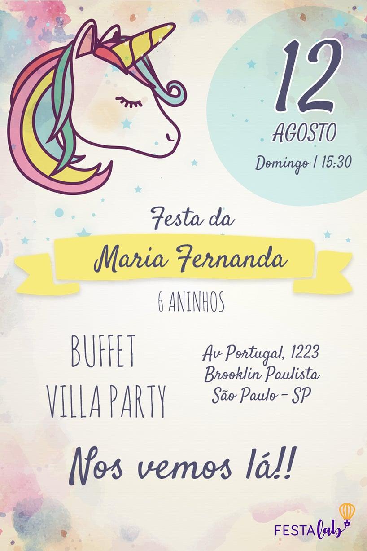Criar convite de aniversário - Unicórnio| Festalab