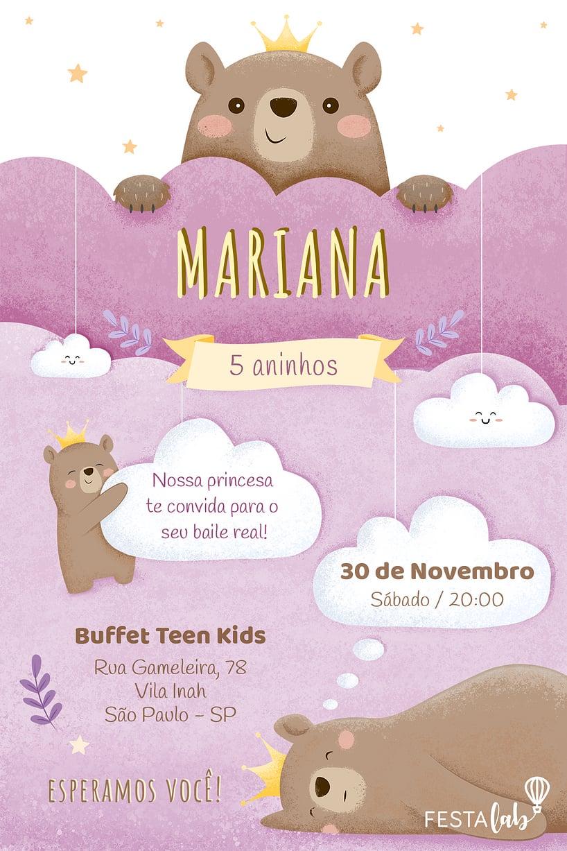 Convite de Aniversario - Ursinha Princesa