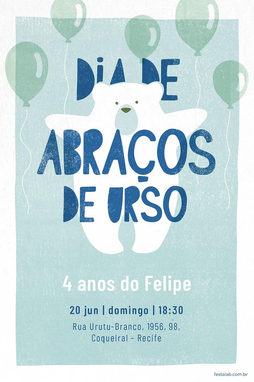 Criar convite de aniversário - Ursinho Com Balões Azul| FestaLab
