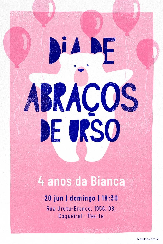 Convite de Aniversario - Ursinho com baloes Rosa