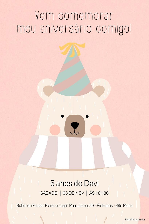 Convite de Aniversario - Ursinho Comemoracao Rosa