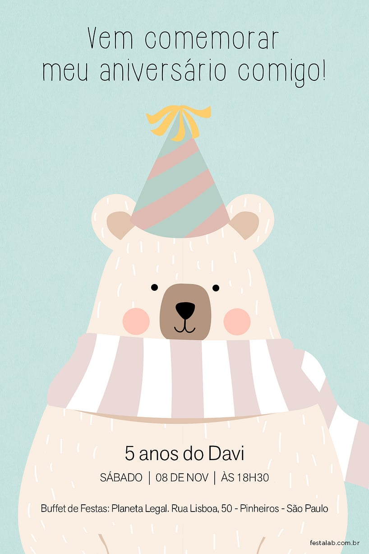 Convite de Aniversario - Ursinho Comemoracao Verde
