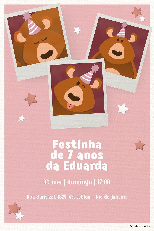 Convite de Aniversario - Ursinho Festa Rosa