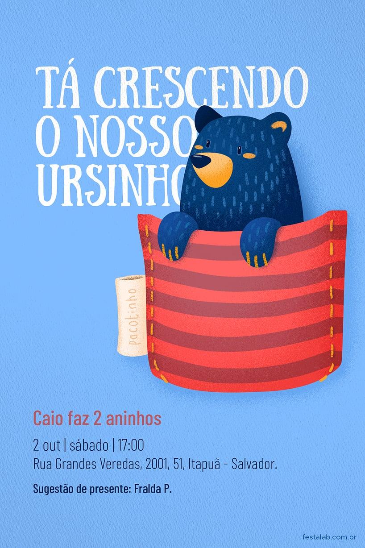 Convite de Aniversario - Ursinho no Bolsinho