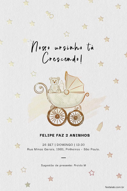 Criar convite de aniversário - Ursinho no Carrinho | Festalab