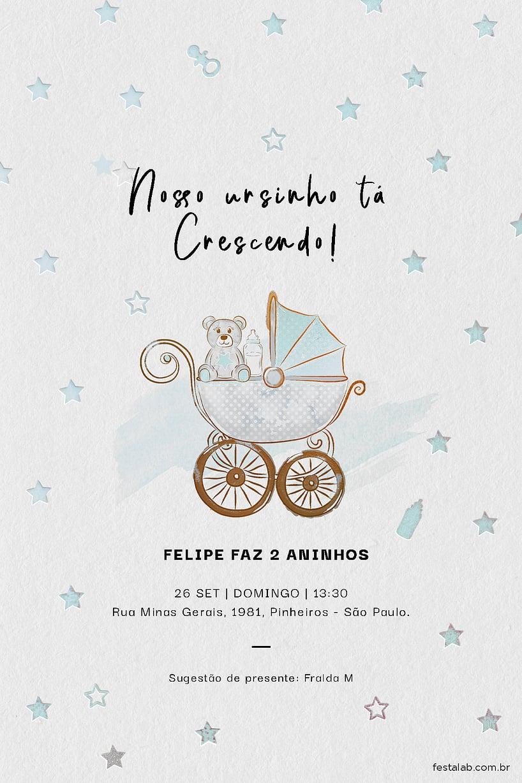 Criar convite de aniversário - Ursinho no Carrinho  FestaLab