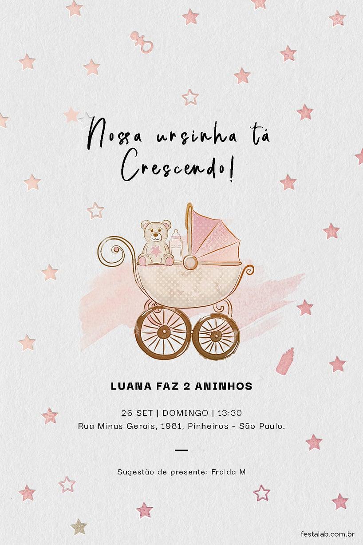 Criar convite de aniversário - Ursinho no Carrinho| FestaLab