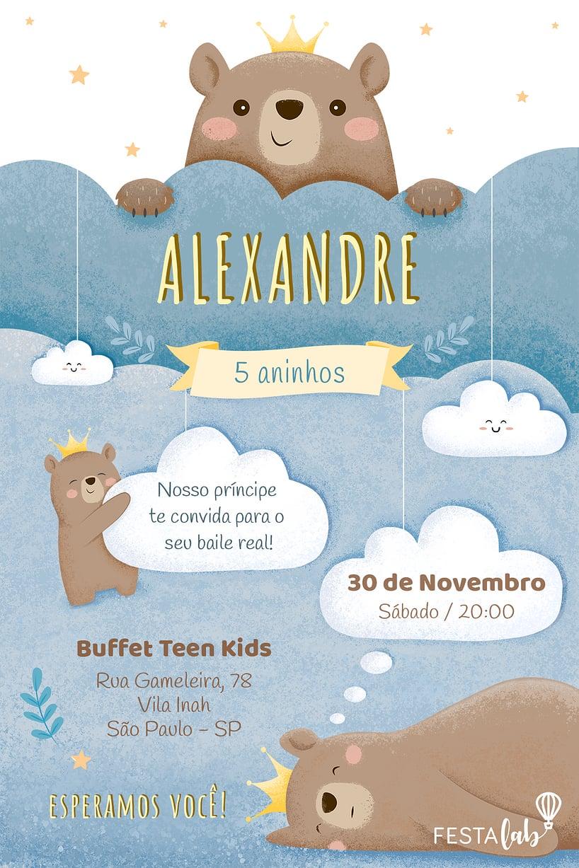 Convite de Aniversario - Ursinho Principe