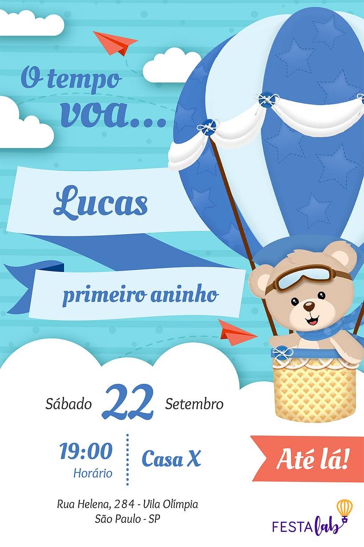 Convite de aniversario - Urso Baloeiro
