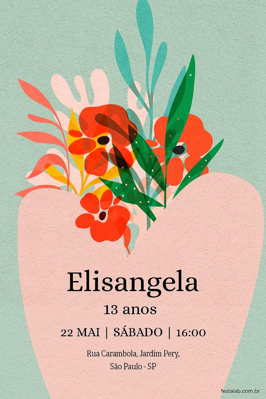 Convite de Aniversario - Vaso Floral