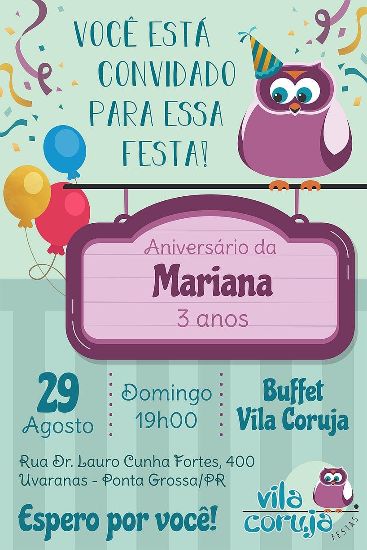 Convite de Aniversario - Vila Coruja Festas