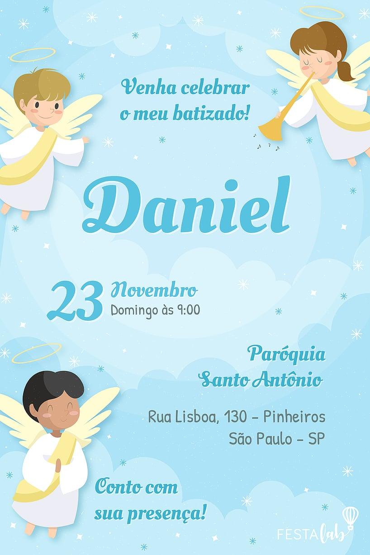Convite de Batizado - Anjinhos