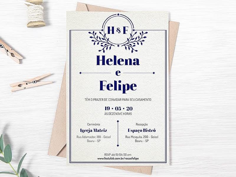 Crie seu convite de casamento - Clássico azul| FestaLab