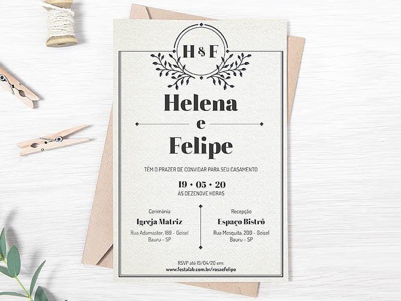 Crie seu convite de casamento - Clássico cinza| FestaLab