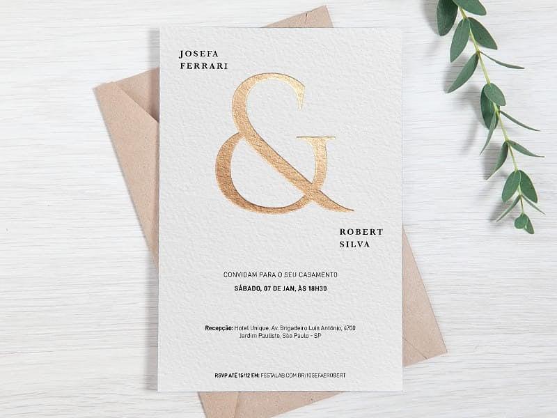 Crie seu convite de casamento - Clássico Letra Dourada| FestaLab