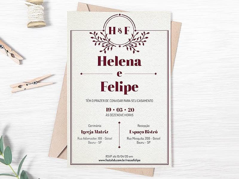 Convite de Casamento - Classico marsala