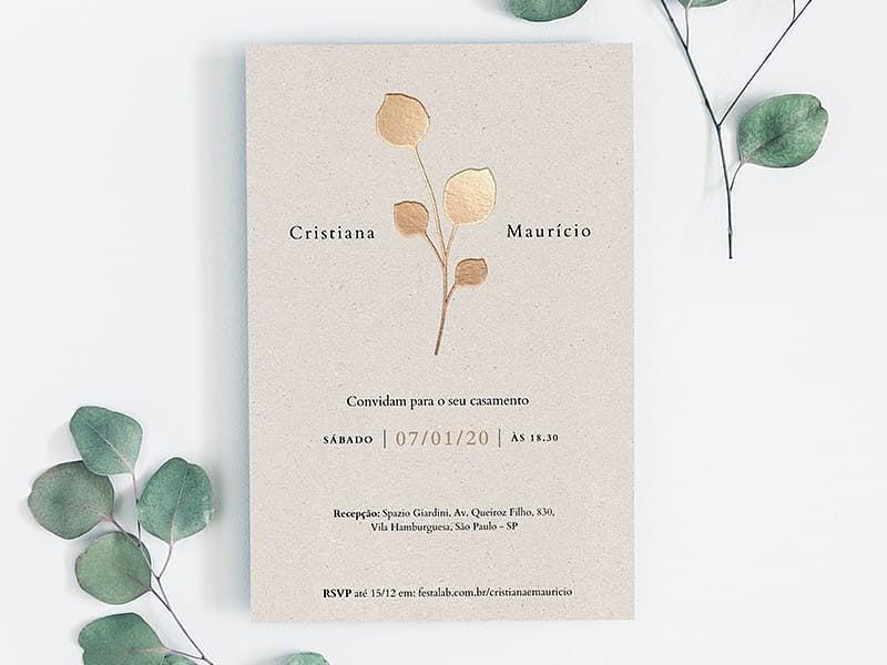 Crie seu convite de casamento - Flor Dourada  FestaLab