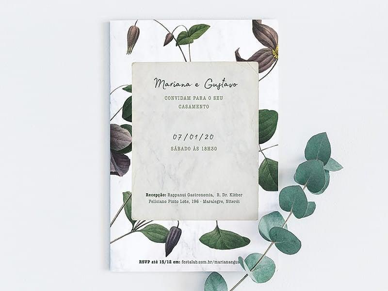 Crie seu convite de casamento - Floral Moderno  FestaLab