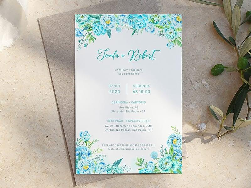 Crie seu convite de casamento - Floral  FestaLab