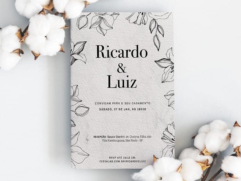 Crie seu convite de casamento - Flores Romântico| FestaLab
