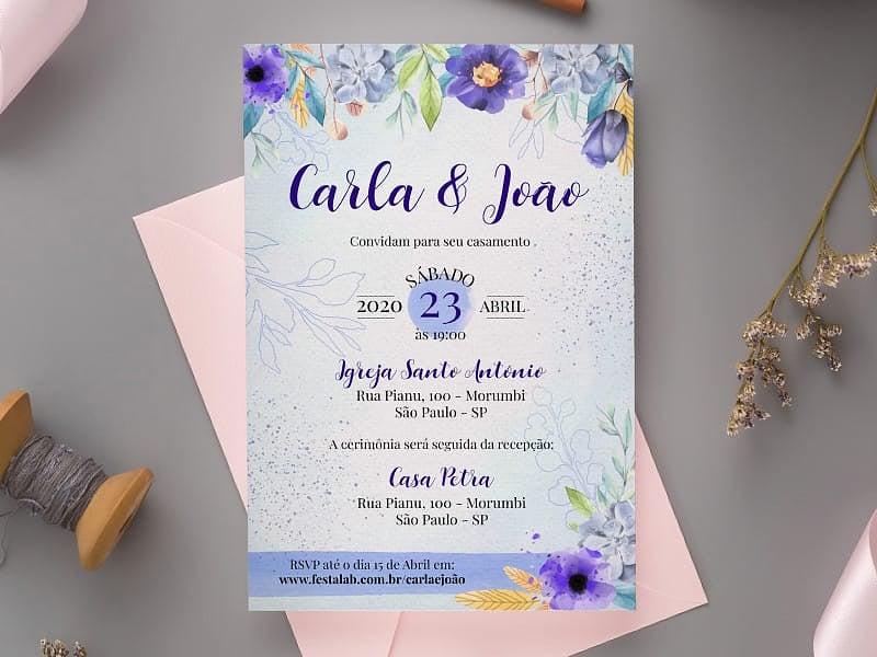 Convite de Casamento - Florido roxo