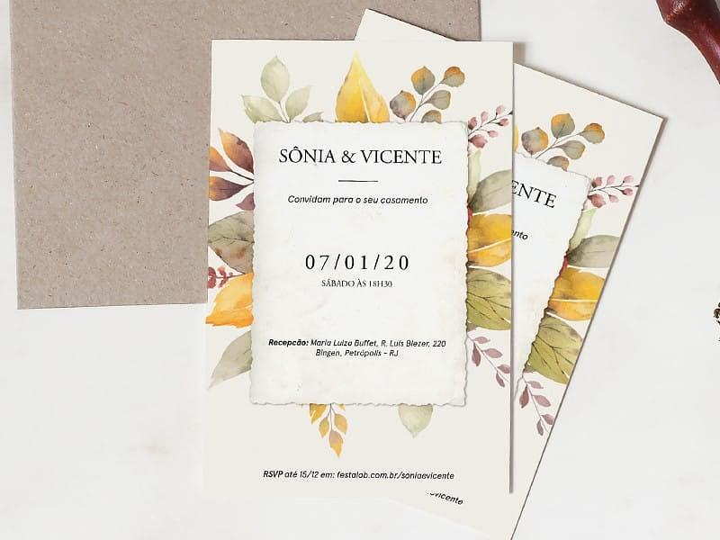 Crie seu convite de casamento - Folhagem de Outono  FestaLab