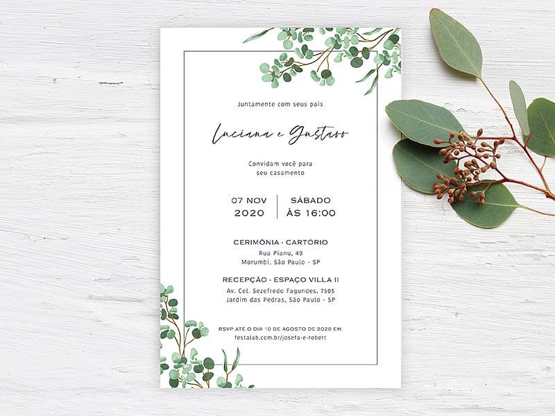 Crie seu convite de casamento - Folhas| FestaLab