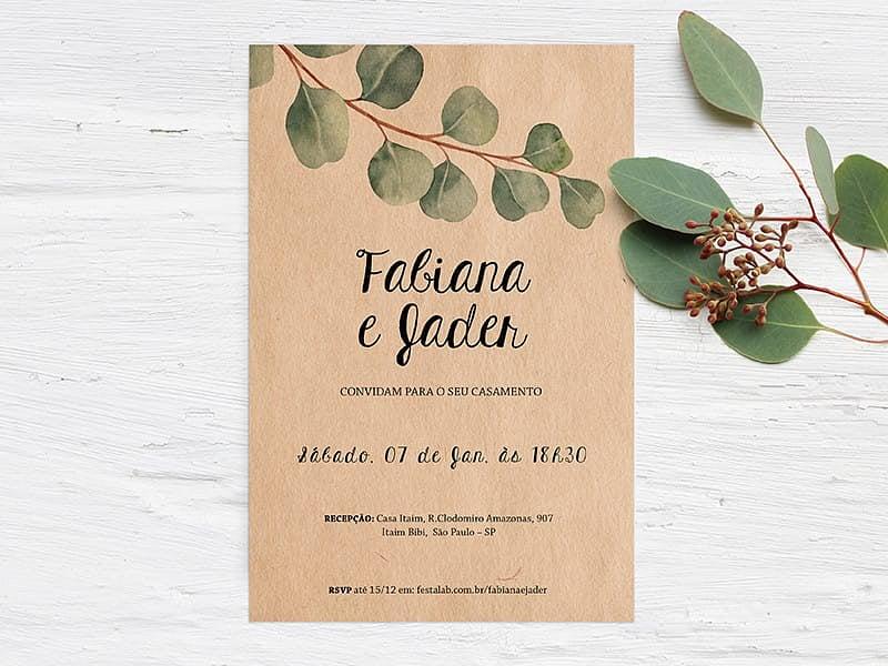 Crie seu convite de casamento - Kraft Delicado| FestaLab