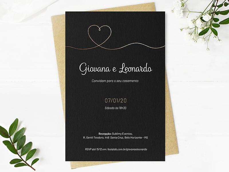 Crie seu convite de casamento - Minimalista Preto com Dourado| FestaLab