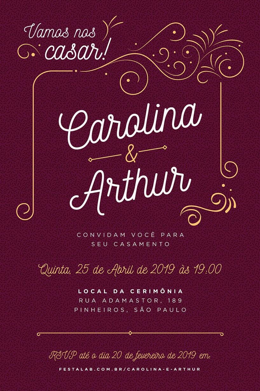 Convite de Casamento - Ornamental - Casamento