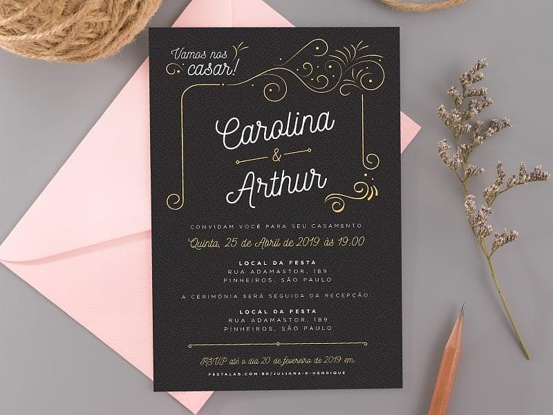 Convite de Casamento - Ornamental preto