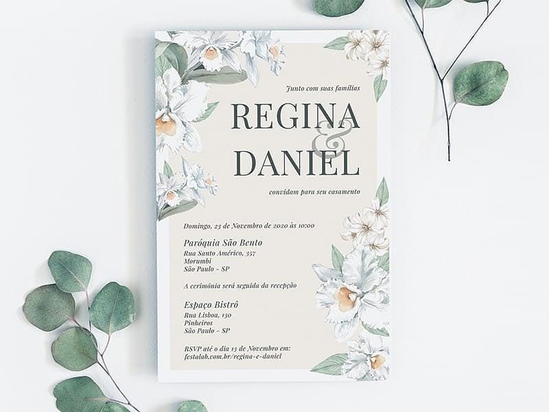 Crie seu convite de casamento - Orquídeas| FestaLab