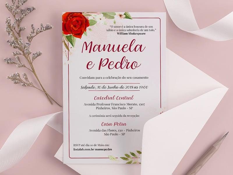 Crie seu convite de casamento - Rosas| FestaLab