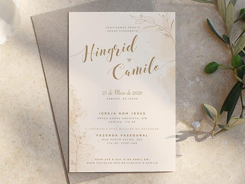 Convite de Casamento - Rustico delicado