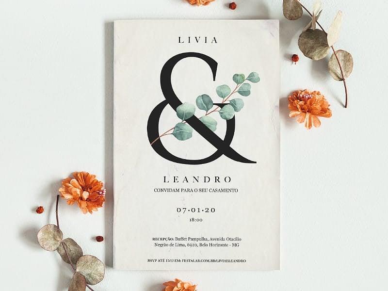 Crie seu convite de casamento - Rústico Folhagem| FestaLab