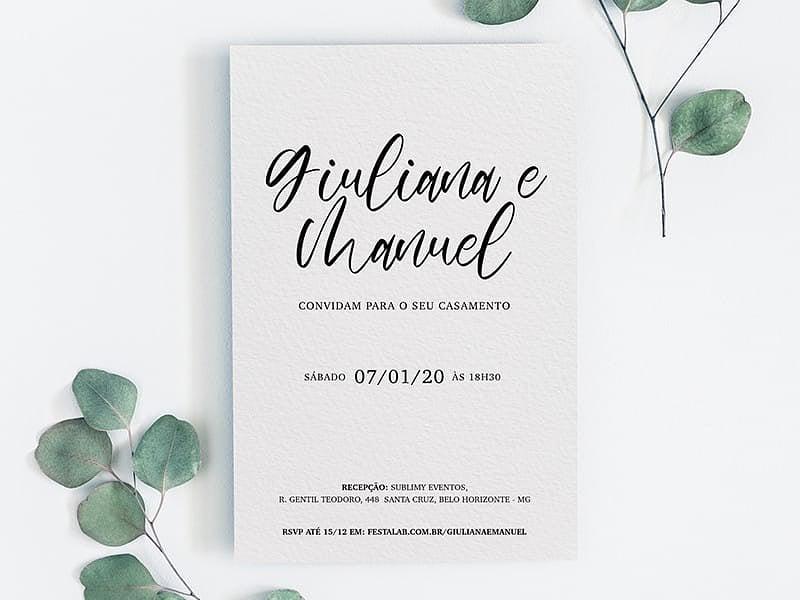 Crie seu convite de casamento - Simples Delicado| FestaLab
