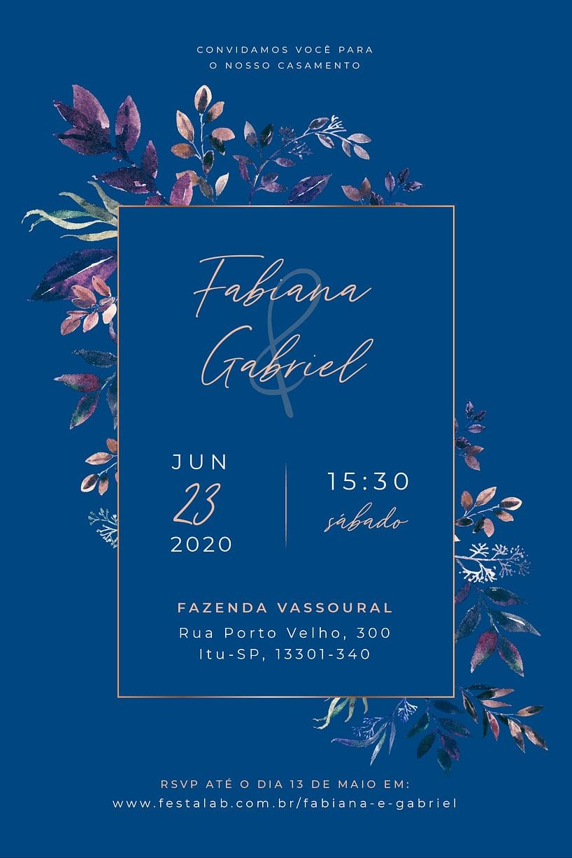 Convite de Casamento - Tropical metalico